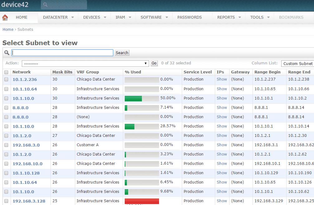 Device42 Subnet Management